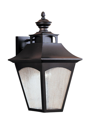 "OL1002ORB  This Oil Rubbed Bronze Wall Lantern from Feiss is part of the Homestead lighting collection.  The Homestead collection has the classic look of carriage lights with Seeded glass, a square-tapered frame with a curved top and a die-cast final, all finished in a warm Oil Rubbed Bronze to give it rich depth.  Oil Rubbed Bronze Dimensions: W: 9 1/2'' H: 18 1/2'' Glass: Seeded Lamping: (1) Medium A19 150w Max Extends 10 1/2"" Supplied with 8"" of wire Backplate: H: 5"" W: 4"" Bulb not included Display model"