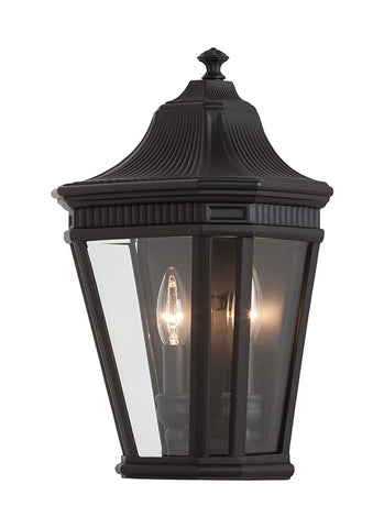 "OL5403BK  The classic styling of the Cotswold Lane lighting collection by Feiss features the look of dentil molding at the top of each pane of beveled glass which adds to the more formal, traditional aesthetic of this antique gas lantern-inspired collection.  Black Glass: Clear Beveled Dimensions: W: 9 1/2"" H: 16"" Lamping: (2) Candelabra A19 60W Max  Extends 6"" Backplate: H: 14"" W: 8 13/16"" Bulb not included Display model"