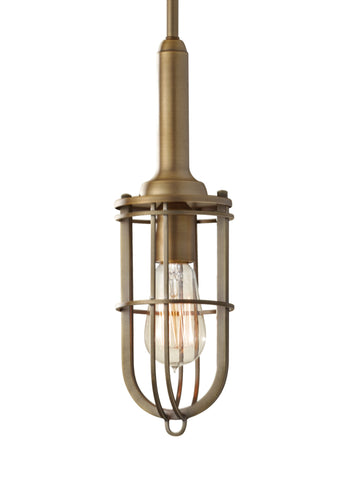 Feiss Mini Pendant in Dark Antique Brass - Batavia Electric Supply