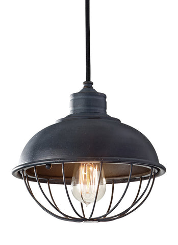 P1242AF This 1-Light Iron Pendant from Feiss is part of the Urban Renewal lighting collection. The Urban Renewal collection is a diverse selection of pendants, chandeliers, and sconces all inspired by the 20th century Industrial Revolution. Featuring reproduction pieces from the nations vintage factories and warehouses, Urban Renewal adds an industrial-inspired aesthetic to any home  adding flair and fun to classic, traditional decor or to the sleekest, contemporary urban spaces. Antique Fo