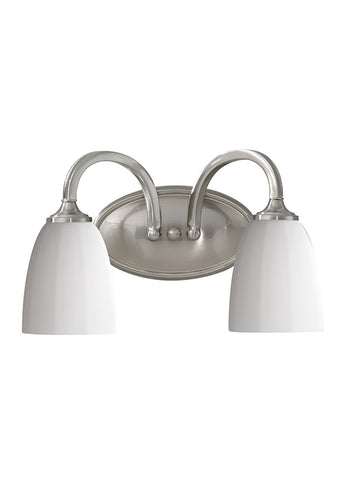 "VS17402BS The transitional Perry lighting collection by Feiss is fitting for living, kitchen or bath areas of all style homes. With a gently curved body construction, the fixtures have a fluid movement with a transitional look to complement a wide range of dcor. Brushed Steel Dimensions: L: 14"" H: 8 5/8"" Glass: Opal Etched White Lamping: (2) Medium A19 100w Max Incandescent Extends 7"" Supplied with 8"" of wire Backplate: H: 4 5/8"" W: 8 1/4"" Bulbs not included Display model"