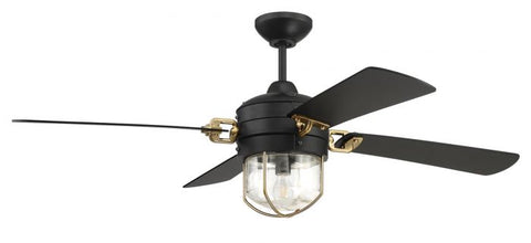 Craftmade Ceiling Fan in Black and Satin Brass - Batavia Electric Supply