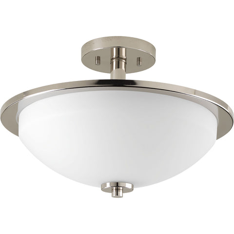 Progress Lighting 2-Light Convertible Semi-Flush in Polished Nickel - Batavia Electric Supply
