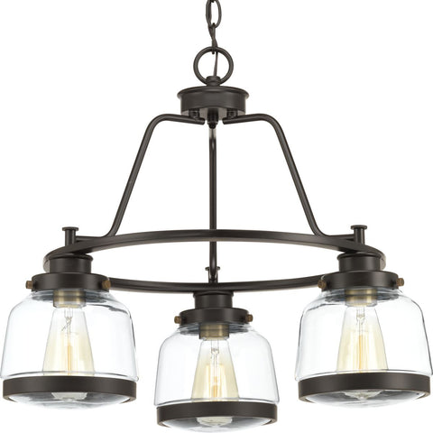 Progress Lighting 3-Light Chandelier in Antique Bronze - Batavia Electric Supply