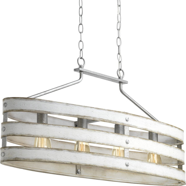 Progress Lighting 4-Light Galvanized Linear Chandelier - Batavia Electric Supply