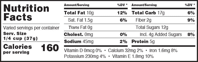 Antioxidant Trail Mix Nutrition Facts