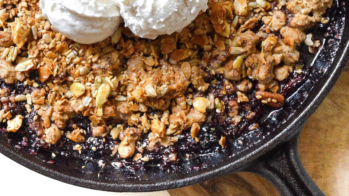 GrandyOats Mixed Berry Skillet Cobbler