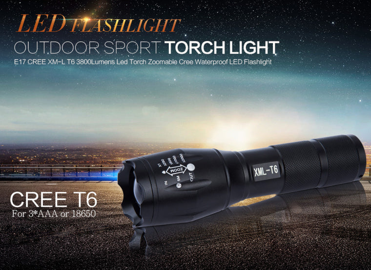 Tactical LED Flashlight -- CREE XM-L T6