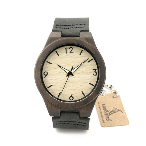 Sandal Wood Quartz Mens Watch With Leather Strap