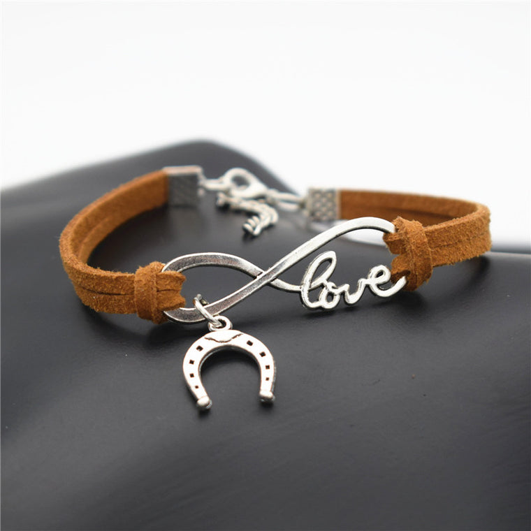 Infinity Horseshoe Leather Charm Bracelet