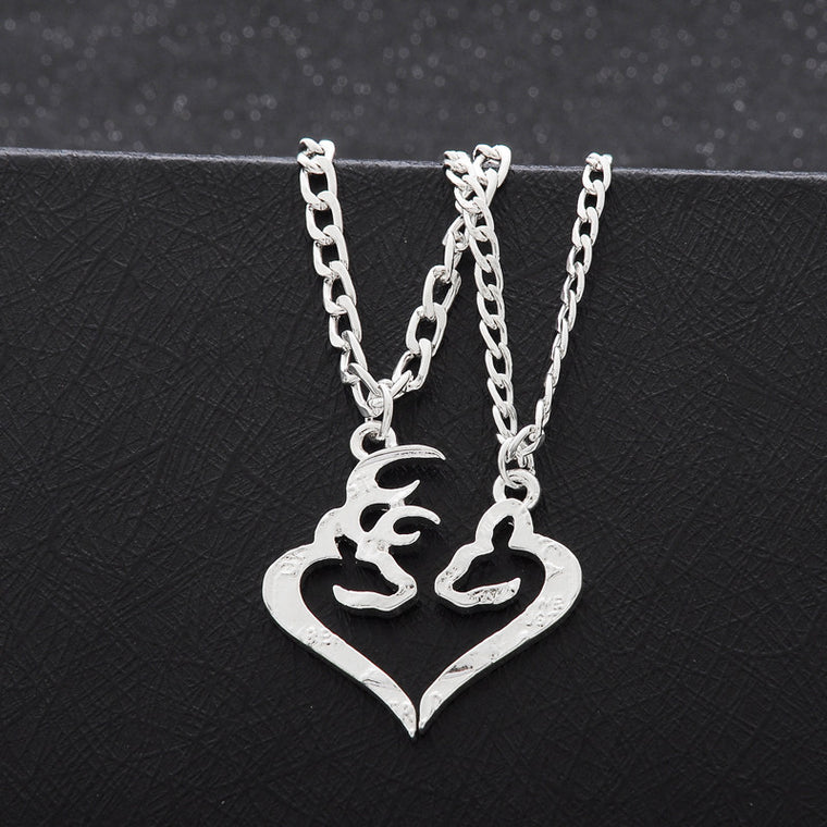 Deer Buck & Doe Heart Necklace