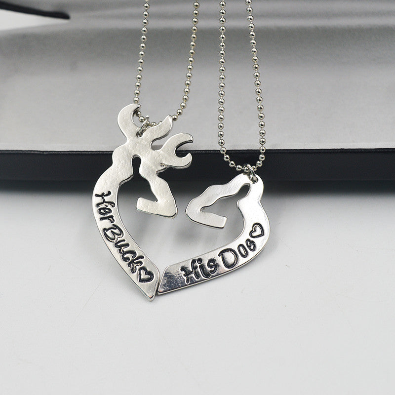 Her Buck His Doe Kissing Heart Pendant --- Special Offer