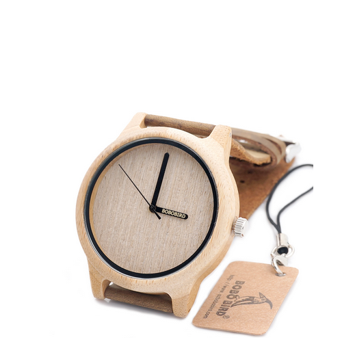 Wooden Quartz Mens Watch With Leather Strap