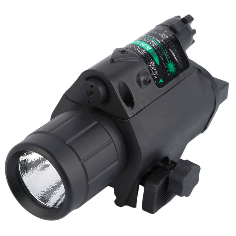 Rail Mount Green Laser Sight With Compact Flashlight