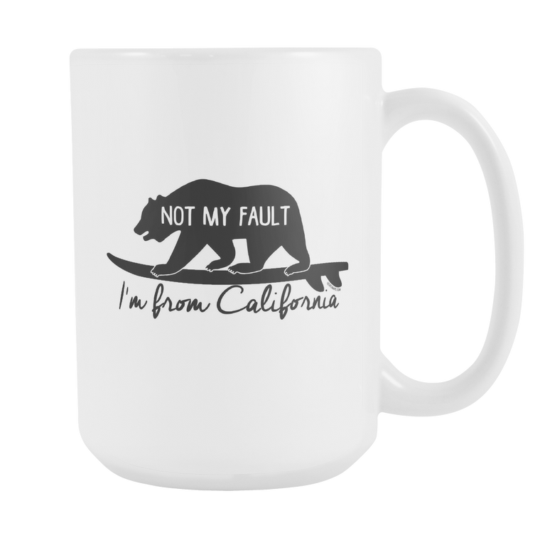 From California, Black Printing, White Mug 15 oz.
