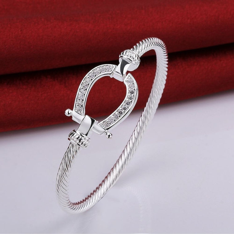 Gorgeous 925 Silver Plated, Crystal Encrusted Horseshoe Bangle