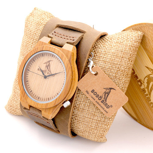 Bamboo Wood Quartz Mens Watch With Wide Leather Strap