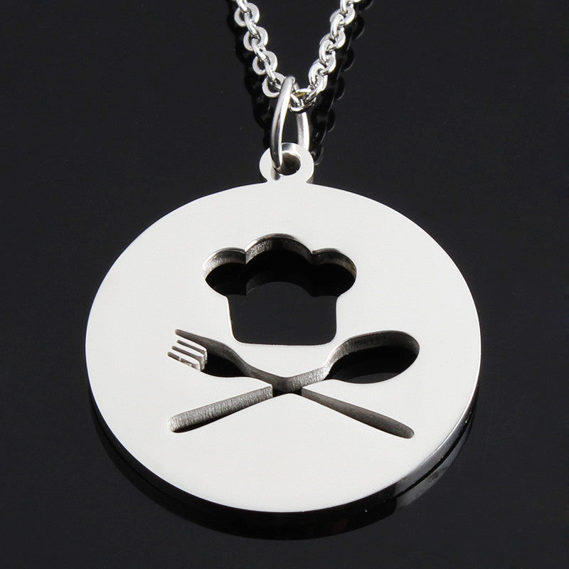 18K Gold or Silver Chef Hat with Fork &  Spoon Necklace
