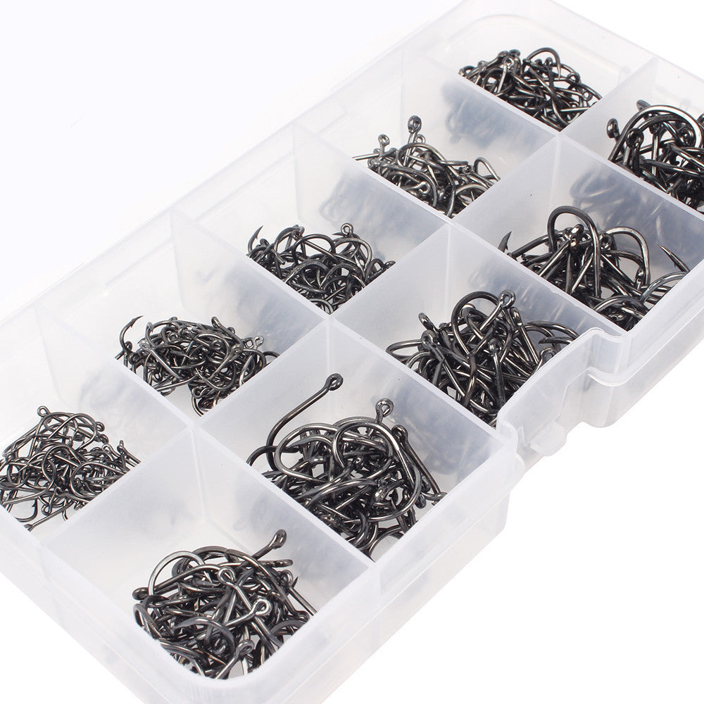 500pcs Black Carbon Steel Fishing Hooks Fishhooks  3# -12# 10 Sizes Plus Fishing Tackle Box --special
