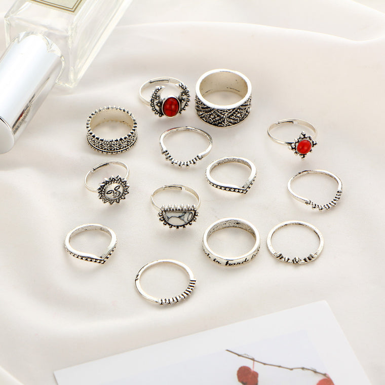 14pcs Vintage Silver Color Moon And Sun Midi Female Ring Set