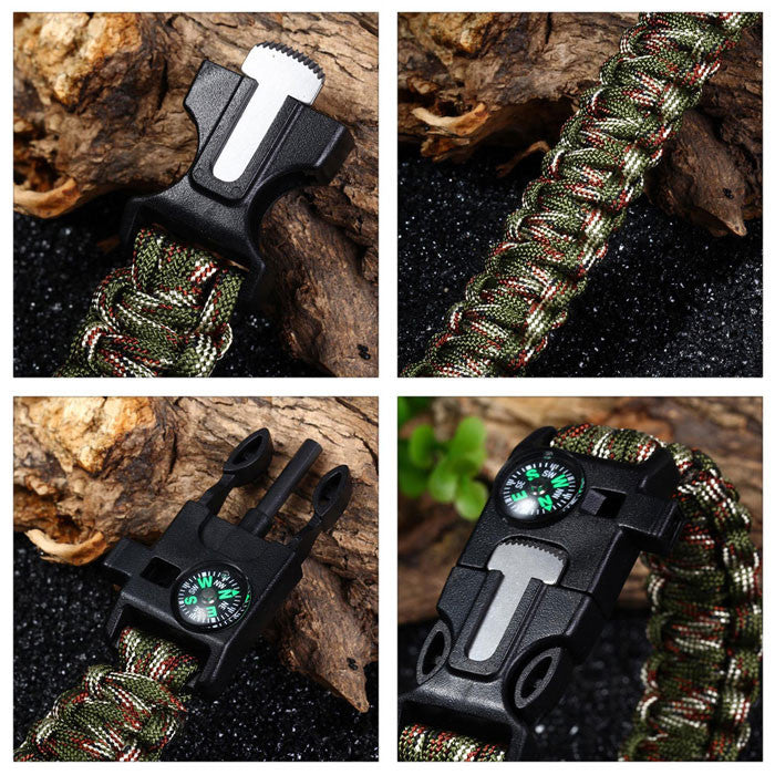 SPECIAL OFFER Outdoor Survival Bracelet w/ Whistle, Fire Starter, and Compass
