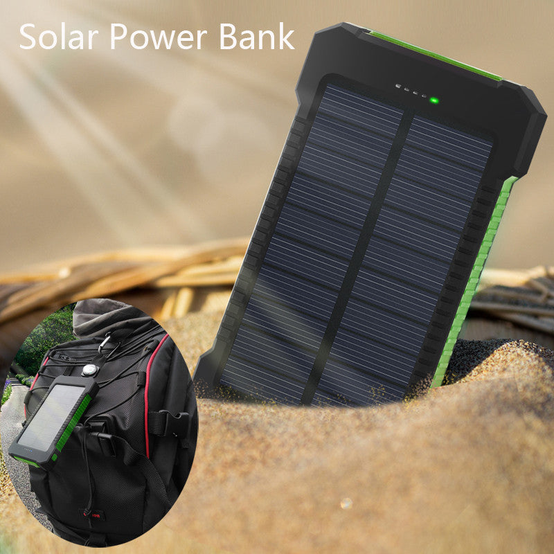 Solar Panel With Led Light Part - 39: Waterproof Power Bank Solar Charger With LED Light And Dual USB