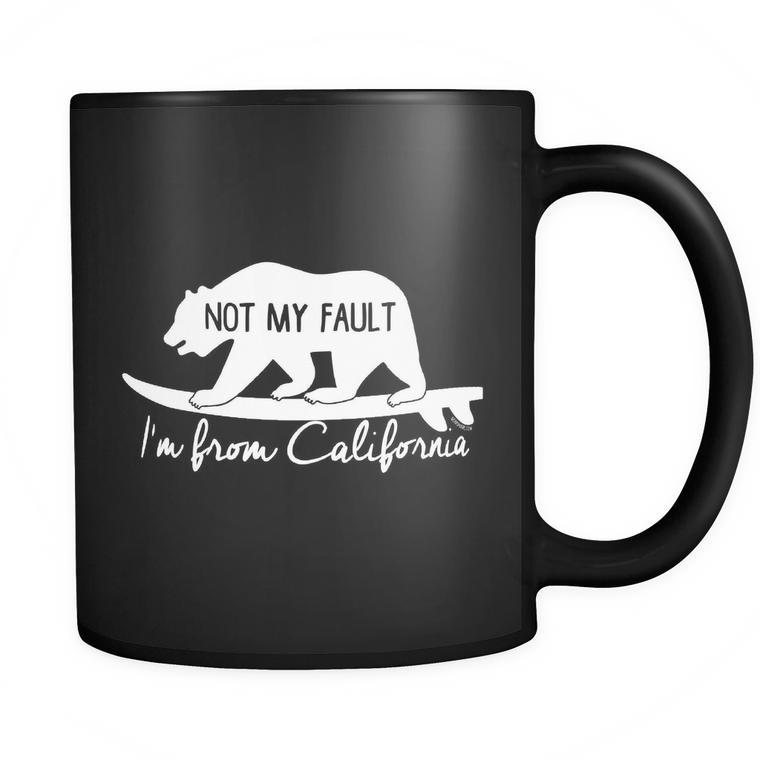 From California, Black Mug, White Printing