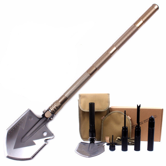 Durable Stainless steel with aluminium alloy handle survival shovel with multiple tools.
