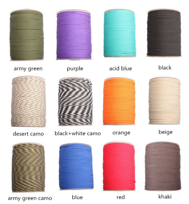 Tactical Paracord, 328ft/100M Roll - Various Colors