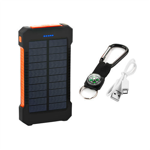 Waterproof Power Bank Solar Charger with LED Light and Dual USB