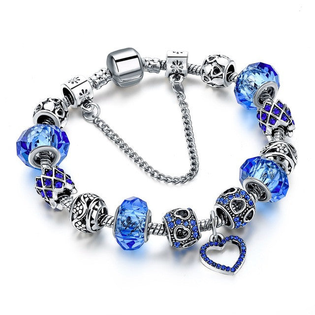 Crystal Beads Bracelets For Women with Silver Heart Charm