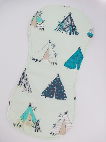 BURP CLOTH - Teepee (in mint)