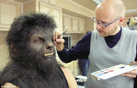 Wolfman Makeup being applied by Barrie Gower