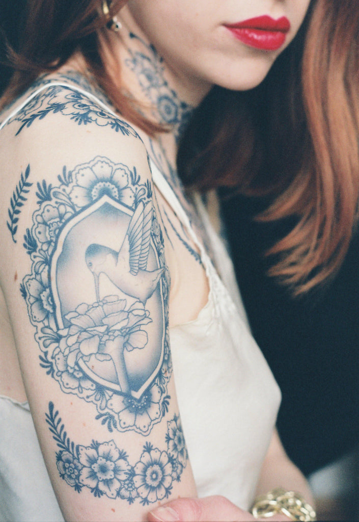 Tattooed Now! Temporary Tattoo Delft Birds and Flowers - Set 02