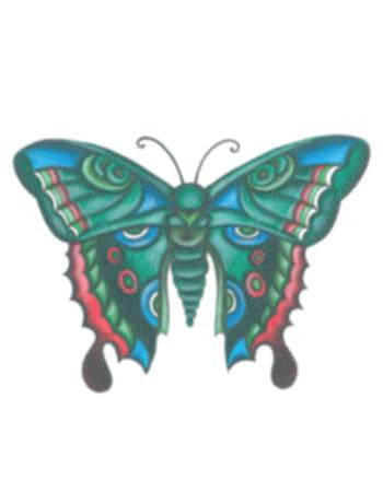 Tattooed Now! Temporary Tattoo Green Blue Butterfly