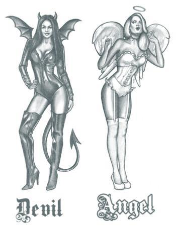 Tattooed Now! Angel and Devil Pin-Up Girls