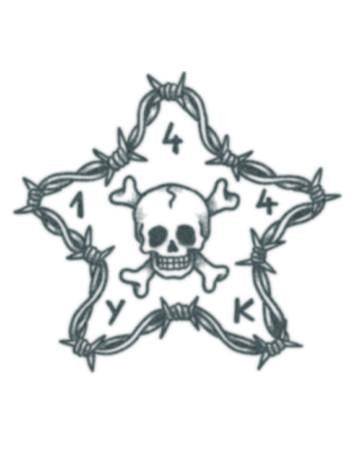 Tattooed Now! Barbwire Star with Skull