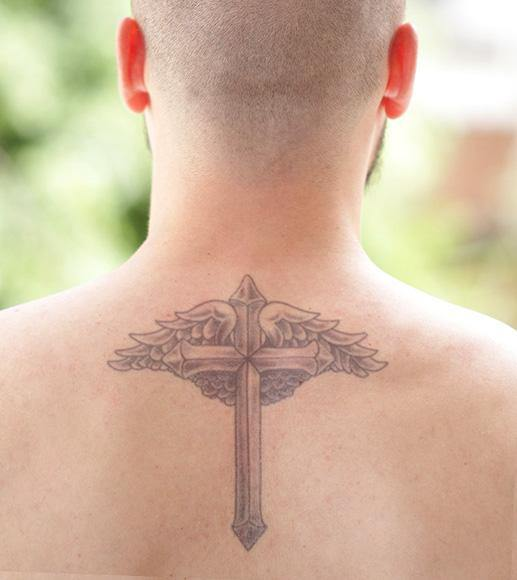 Tattooed Now!  Temporary Tattoo Cross with Wings