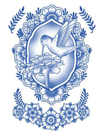 Tattooed Now! Delft Birds and Flowers - Set 02