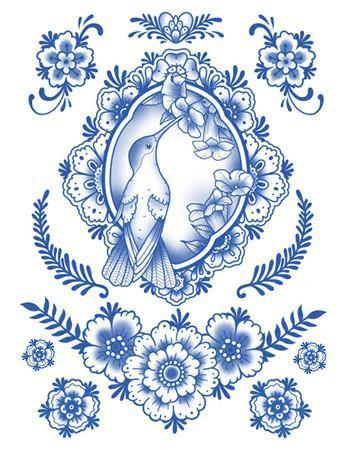 Copy of Tattooed Now! Delft Birds and Flowers - Set 03