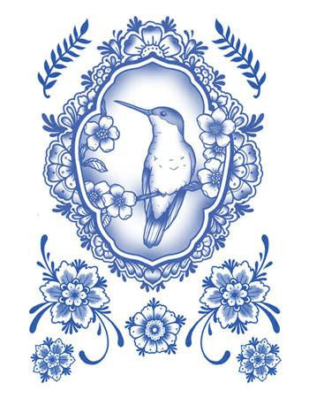 Tattooed Now! Temporary Tattoo Delft Birds and Flowers - Set 05