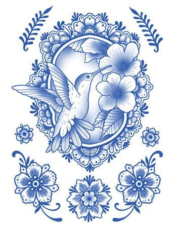 Tattooed Now Temporary Tattoo Delft Birds And Flowers Set 06