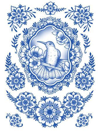 Tattooed Now! Delft Birds and Flowers - Set 07