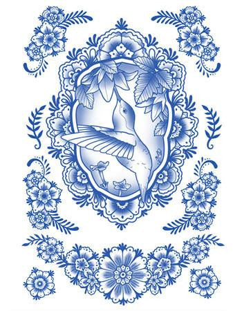 Tattooed Now! Temporary Tattoo Delft Birds and Flowers - Set 08