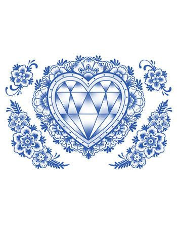Tattooed Now! Delft Diamond Heart and Flowers