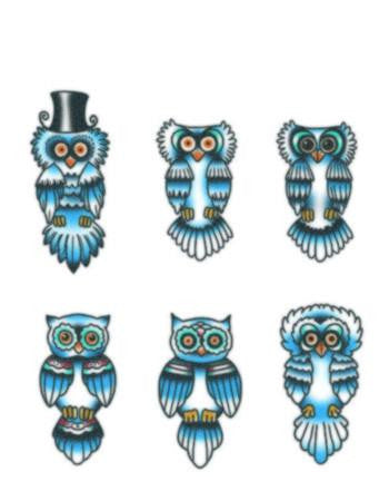 Tattooed Now! Finger Owls Blue