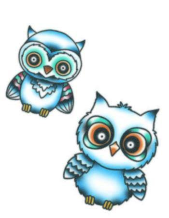 Tattooed Now! Owls Blue