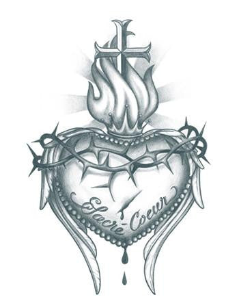 Tattooed Now! Temporary Tattoo Sacred Heart Cross (Large)