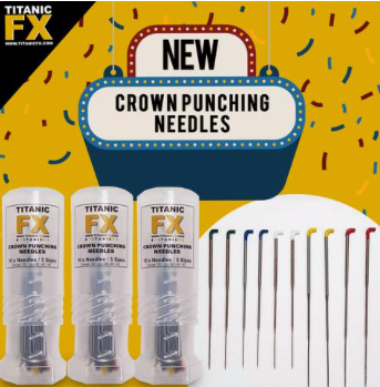 Titanic FX Crown Punching Needles Set With Mini Twist Up Protector (10 NEEDLES / 5 SIZES)