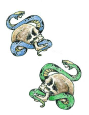 Tattooed Now! Blue and Green Snakes with Skulls